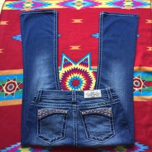 Miss Me Aztec Embroidered Bootcut Jeans Sz 29